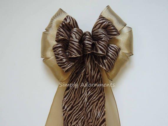 Gold Brown Zebra Wedding Bows Zebra Animal Print Birthday Party Decoration Gold Brown Zebra Print Wreath Bows Animal Print Gifts Package Bow