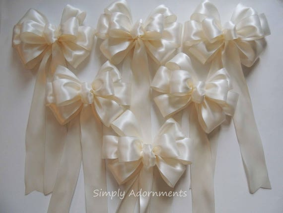 Set of 6 Bridal White Satin Wedding Pew Bows Bridal White Wedding Chair bow Aisle Decor Ceremony Church Pew Bows Bridal White party decor