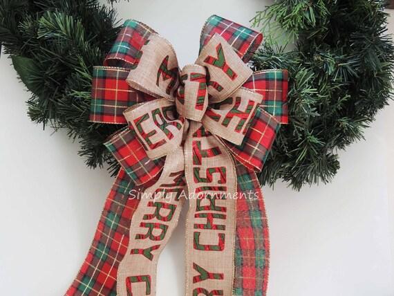 Merry Christmas Plaid Bow Red Green Tartan Woodland Christmas Bow Rustic Christmas Country Bow Red Green cabin plaid Christmas Wreath Bow