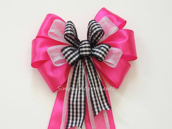 Pink Black check Wreath Bow pink Black Birthday Decor Black Fuchsia Church Aisle Wedding Pew Bow Pink Black Pink Black Bow Wedding Ceremony
