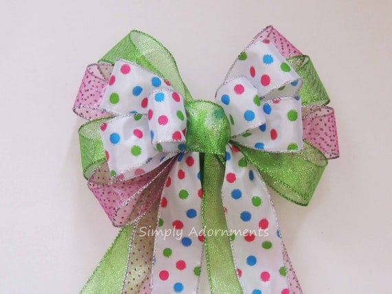Pink Lime Easter Wreath Bow Lime Pink Dots Bow Pink Green Easter Door Bow Easter Gift Basket Bow Pink Green Polka Dots Birthday Decoration