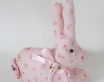 Pink Rose Bunny, Bunny Pillow Tuck, Stuffed Bunny, Pastel Fabric Bunny, Collectible, Decorative Bunny, Shabby Cottage Chic