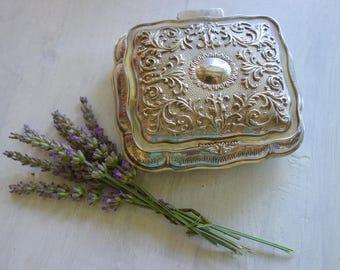 Vintage Silver Metal Jewelry Casket Box - Blue Velvet Lining