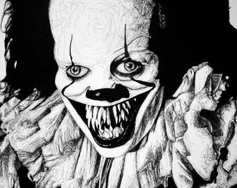 Pennywise - Ink Drawing by Frank Heiler - It 2017