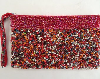 vtg Beaded Red zip Clutch bag