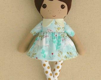 Fabric Doll Rag Doll Small 15 Inch Doll in Aqua Unicorn Print Dress with Gold Dotted Leggings