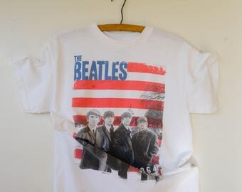 Free Shipping!! Vintage The Beatles T-Shirt Size M, The Beatles 1964 U.S. Tour Shirt, Concert Shirt, Band Shirt, Graphic Tee, Band T-Shirt