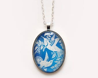 "Hummingbirds Necklace - Papercut Illustration Pendant with 24"" Silver Chain"