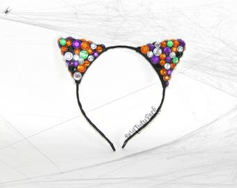 Halloween Cat Ears // Cat Ears Headband // by Born Tutu Rock