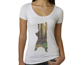 Bear T-Shirt | Women's T Shirts | Bear in the Forest | Women's Top | Gifts for her | mama bear shirt | Bear shirt | Graphic Tshirts | Scoop