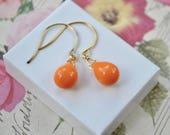 Marigold Orange Earrings, Glass Teardrop Earrings, Orange Beaded Earrings, Orange Jewellery, Citrus Drop Earrings, UK, Orange Gifts Under 20