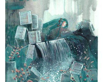 The Prince of the Water Kingdom is on call - original painting - water - sea - prince - love - fairytale illustration - storybook - romance
