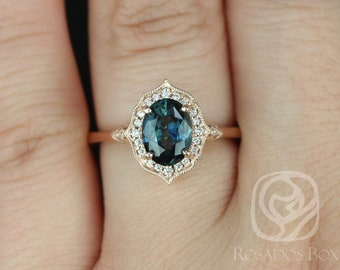 Rosados Box Mae 1.43cts 14kt Rose Gold Oval Chameleon Teal Sapphire and Diamond Halo Engagement Ring