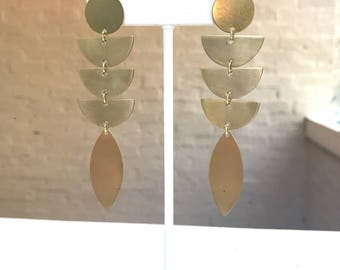 Brass Half Moon and Marquis Drop Earrings