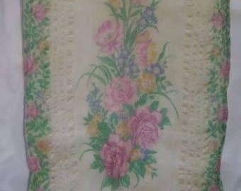 Rose Garden Sheer Silk Scarf 1950s