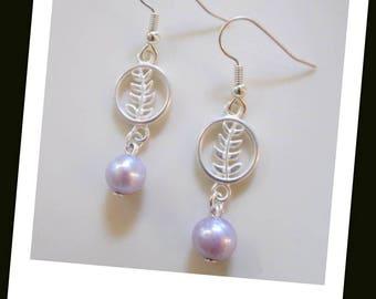 Purple Freshwater Pearl Silver Branch Earrings Hypoallergenic Earrings Nickel Free Earrings Silver Leaf Earrings Pearl Dangle Earrings