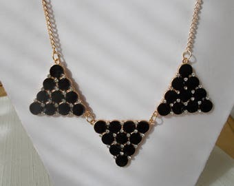 SALE Gold Tone Chain Necklace with Black Beads and Clear Rhinestones