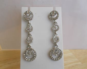 Post/Stud SilverTone Earrings with Clear Crystal and Rhinestone Dangles