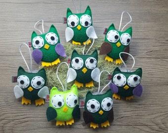 Woodland Ornament, Owl Decoration, Green Plush Decor, Felt Keepsakes, Cute Gift Idea, Fiber Art, Cool Kid Room, Set of 8, MADE TO ORDER