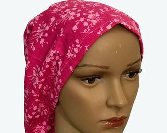 Euro Scrub Hat - Beautiful Light Pink Flowers on Dark Magenta Pink Scrub Hat for women - Slouchy hat with Light and Colorful Flowers