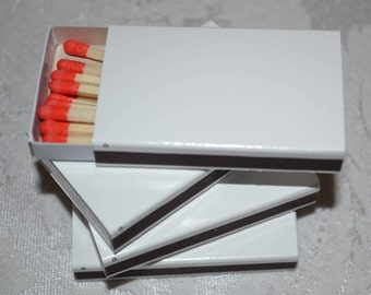 50 Plain White Cover Wooden Matchbox Matches with red tip matches/Matches/Matchboxes/Match Boxes