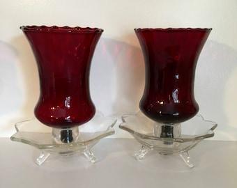 Vintage Votives, Large Ruby Red Votives, Beautiful, Pair