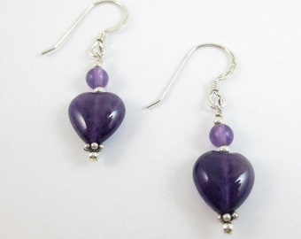 4 & 8 mm Amethyst Stacked Heart Earrings on Sterling Silver or 14k Gold Fill
