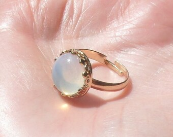 Crown ring, moonstone ring, fantasy ring, Elven ring, fairy ring, Tudor ring, rose goldplated ring, Boho rose gold ring, gift women,