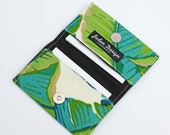 Women's Business Card Wallet, Small Fabric Card Holder, Gift Card Case - palm tree leaves