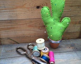 Handmade felt cactus pin cushion