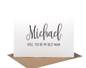Personalised Best Man Card | Wedding Card | Black Script Writing | WED061 | Will you be my Best Man Card | Wedding | Personalised Card