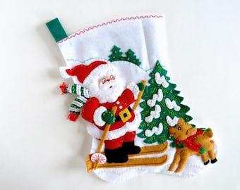 Bucilla Christmas Stocking, Finished Bucilla Stocking, Personalized Stocking, Children's Kids Family Stocking, Skiing Santa, Ready to Ship