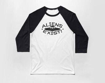 Aliens Exist 3/4 Sleeve Baseball T Shirt - Vintage Cotton/Poly Blend Apparel For Men & Women
