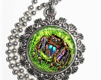 Black, Blue & Violet Spider Art Pendant, Photo Painting Filigree Charm, Silver and Resin Necklace, YessiJewels Jewelry
