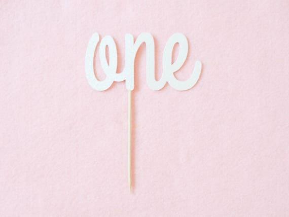 SALE - One Cake Topper - White Glitter - First Birthday. Smash Cake Topper. Birthday Party. First Birthday. 1st Birthday.