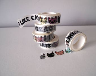 Cat Washi Tape - I like Cats - Washi Tape - Cats - Cat stationery - Cat tape - tape - scrapbooking - Cat illustration - Cat gifts - cute