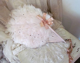 Antique Pink Feather Boudoir Fan With pink Ribbon