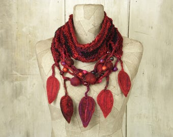 Scarf knit necklace infinity , boho loop felt , Art Hand Knitted wrap , Bohemian clothing , Gypsy  shawl rope wool , Red black purple , OOAK