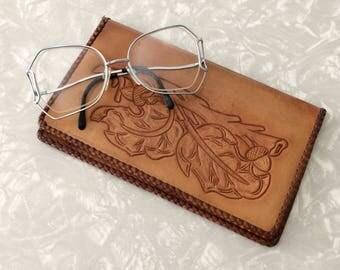 Large Wallet - Vintage Tooled Leather Oversized Billfold
