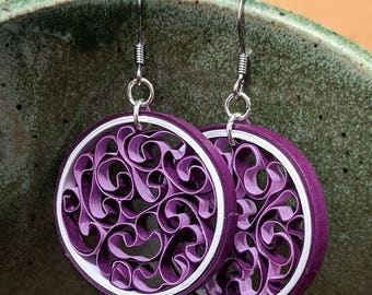 Plum Color Paper Quilled Circle Honeycomb Earrings | First Paper Anniversary Gift for Her | Paper Quilling Jewelry for Sensitive Ears
