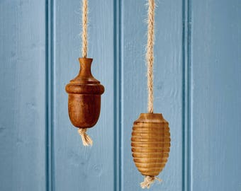Solid Wooden Oak Rope Bathroom Light Pulls