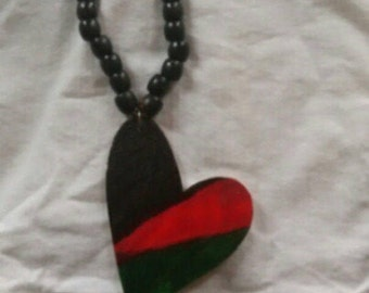 Long wooden bead African necklace