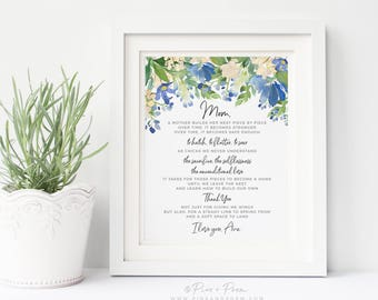 Gift for Mom, Mother's Day Gift from Daughter Floral Watercolor Personalized Mum, Mommy Bird Nest Poem, 8x10 Art Print, UNFRAMED