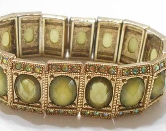 Two-tone Green Cabochon Stretch Bracelet (240) Aurora Borealis Rhinestones