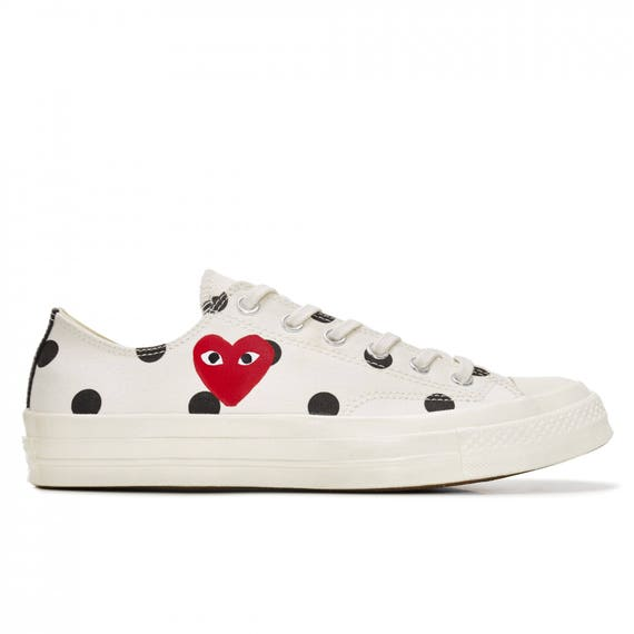 Ivory White Converse comme des garcons Play Low Top Dot Lady Men w/ Swarovski Crystal Rhinestone Chuck Taylor Custom All Star Sneakers Shoes