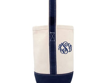 Canvas Wine Tote Bag -  Monogram or  Personalized - embroidered monogram