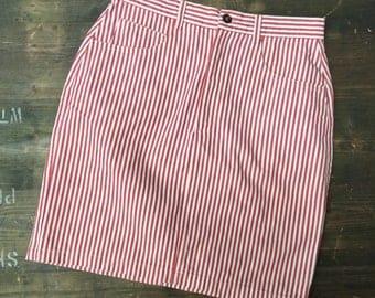 Red & White Striped Denim Skirt
