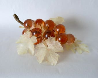 1960s Amber Acrylic Lucite Grapes on Wooden Vine