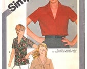 Simplicity 9774 Woman Front-Buttoned, Notched Collar Casual Shirt Sewing Pattern Size 6-8 Vintage 1980's UNCUT
