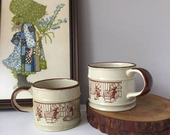 Holly Hobbie Soup Mugs, Vintage Hearth and Home, 1970s Stoneware Cups, Collectible Mugs, Kitchen Americana Little House on the Prairie Style